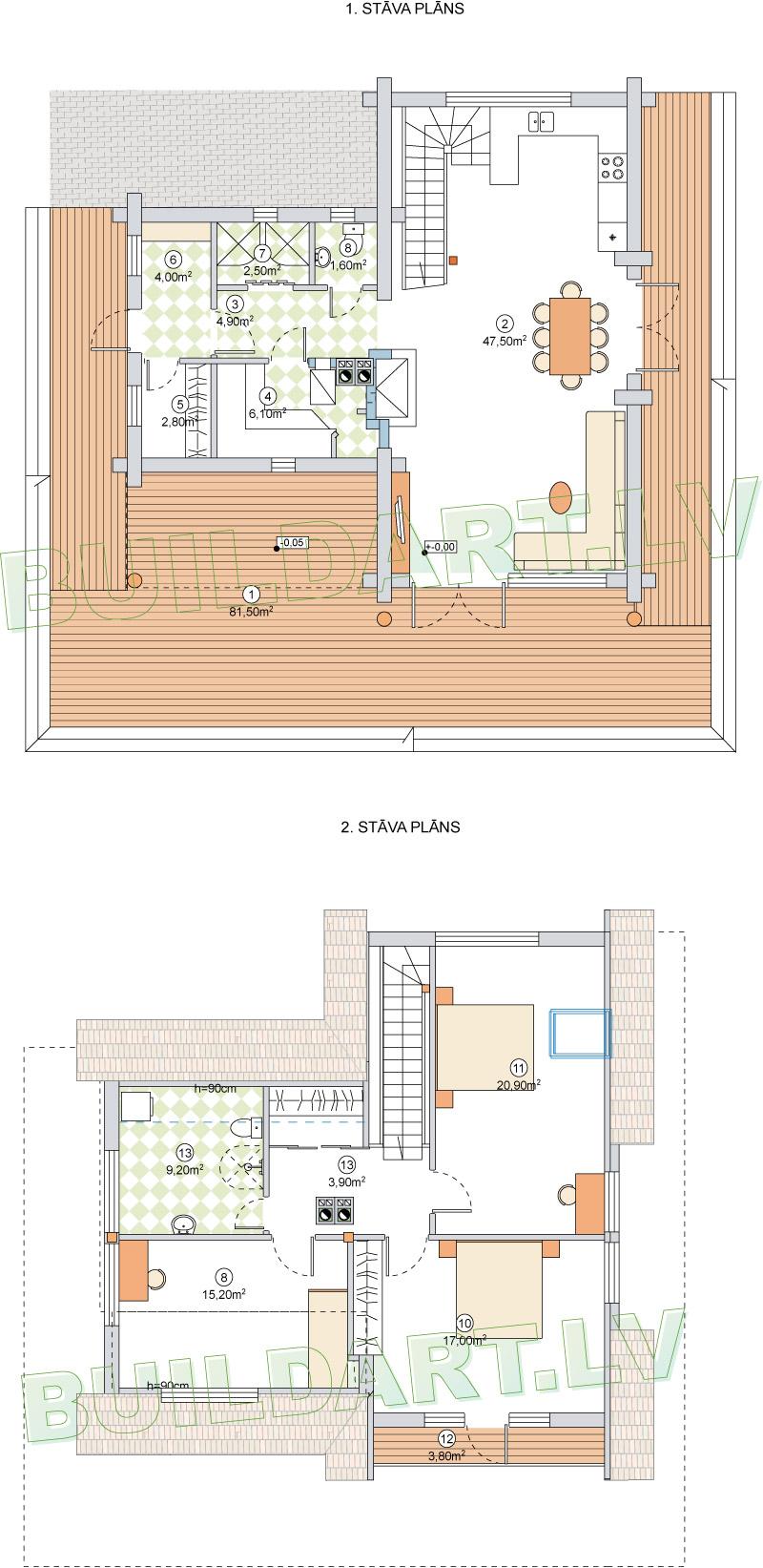 Dzīvojamās mājas projekts Laura - plāni