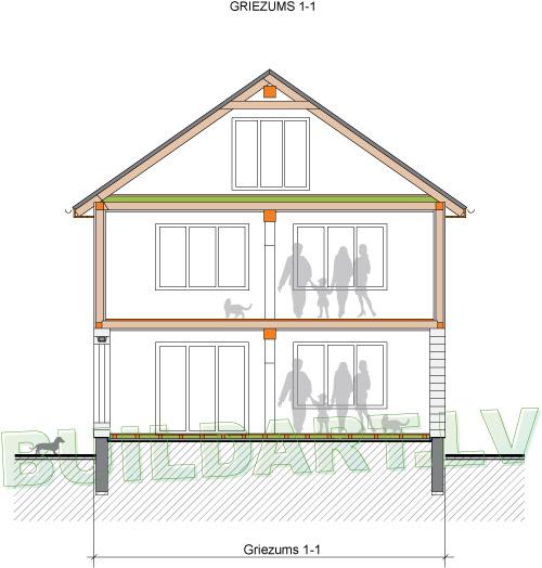 Mājas projekts Margarita - griezums