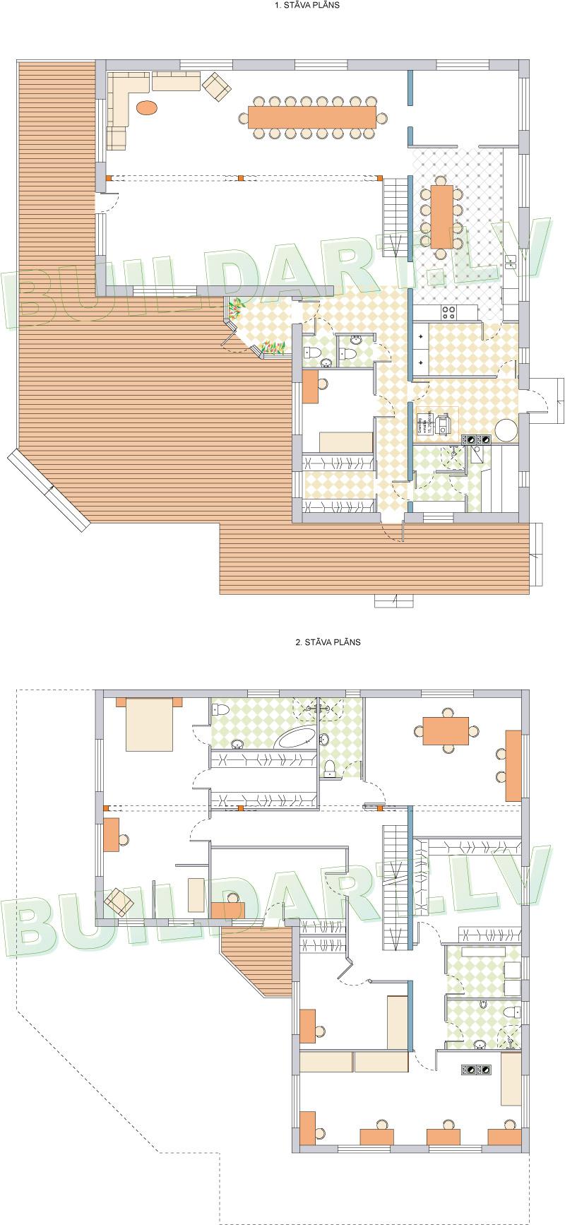 Mājas projekts Margarita - stāvu plāni