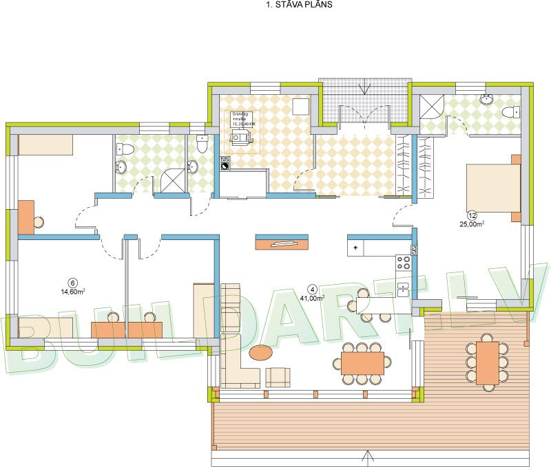 """Dzīvojamās mājas projekts """"Kristīne LUX"""" - plāns"""