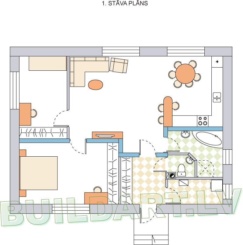 """Dzīvojamās mājas projekts """"Platone"""" - plāns"""