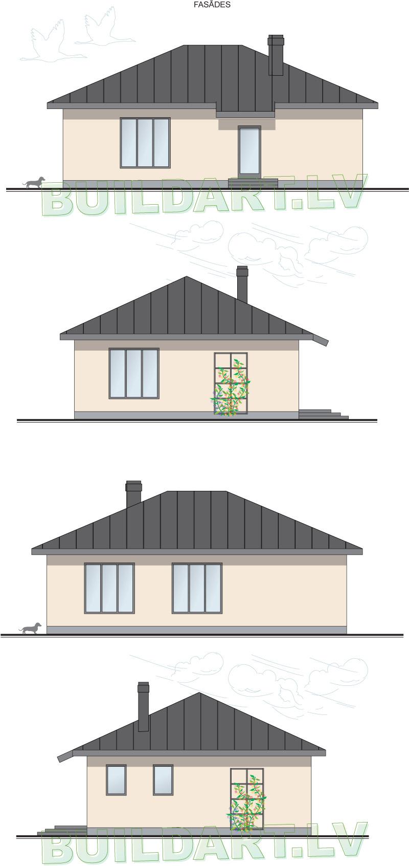 """Dzīvojamās mājas projekts """"Platone"""" - fasādes"""