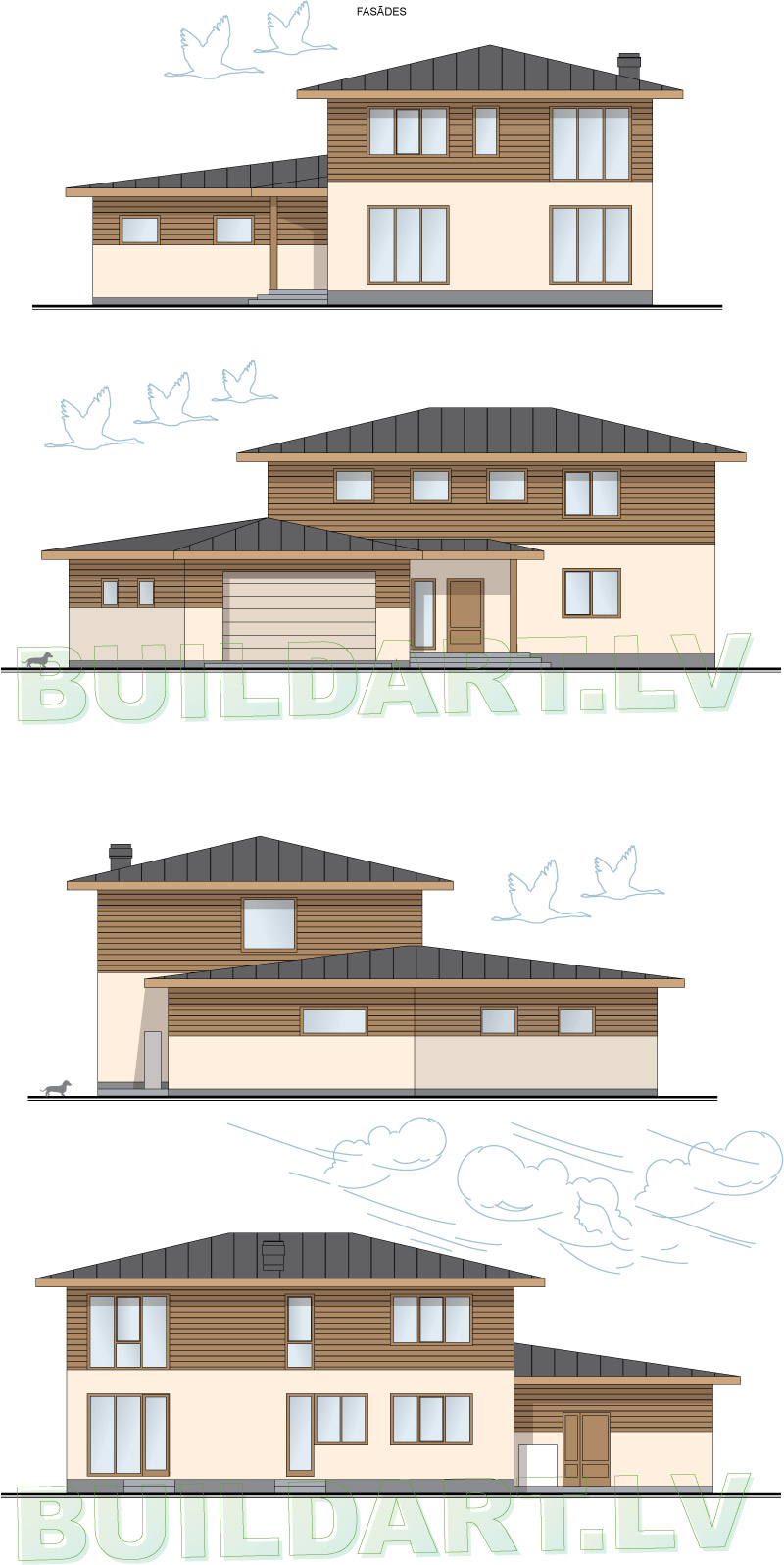 Mājas projekts Villa Mākoņi - fasādes