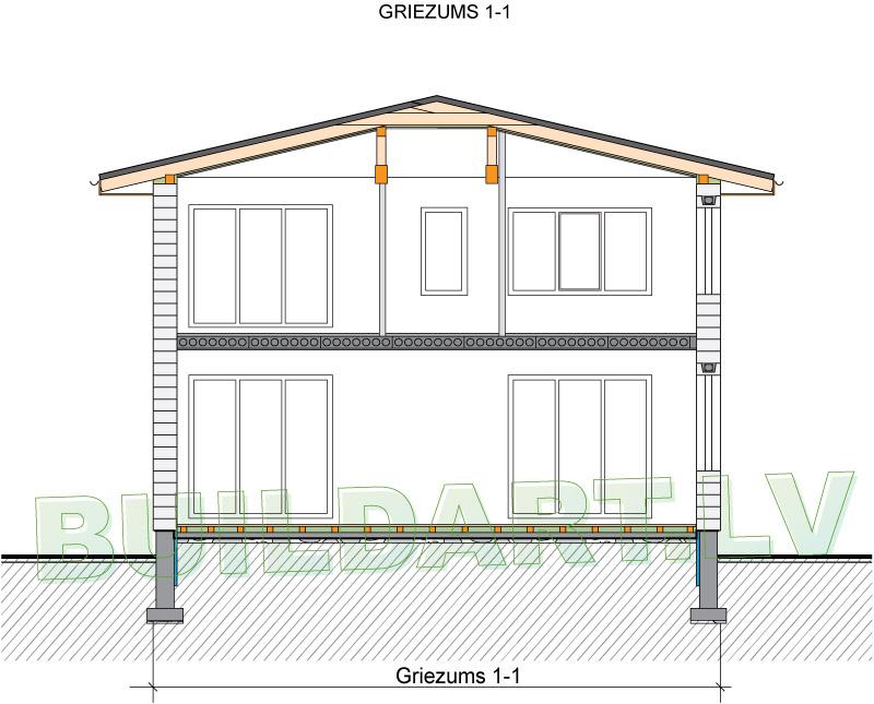 Mājas projekts Villa Mākoņi - griezums