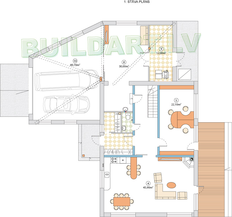 Mājas projekts Villa Mākoņi - 1. stāva plāns