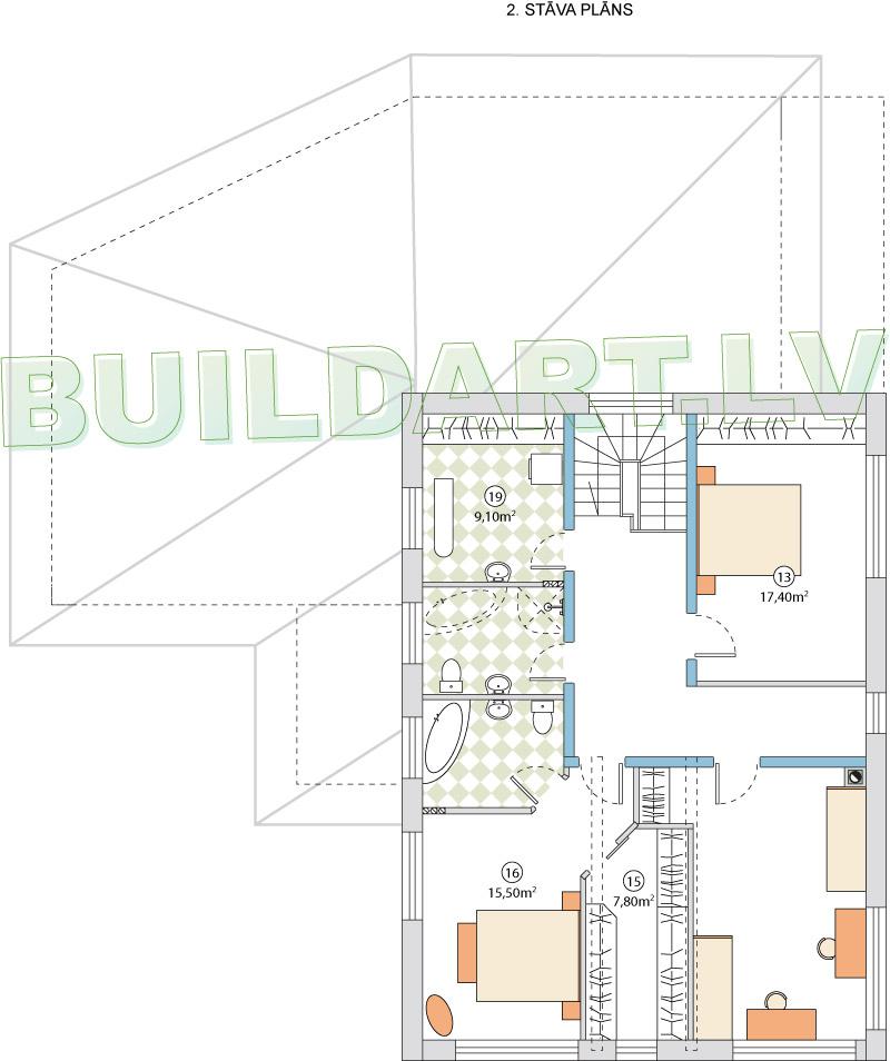 Mājas projekts Villa Mākoņi - 2. stāva plāns