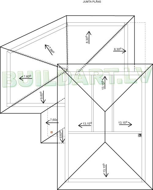 Mājas projekts Villa Mākoņi - jumta plāns