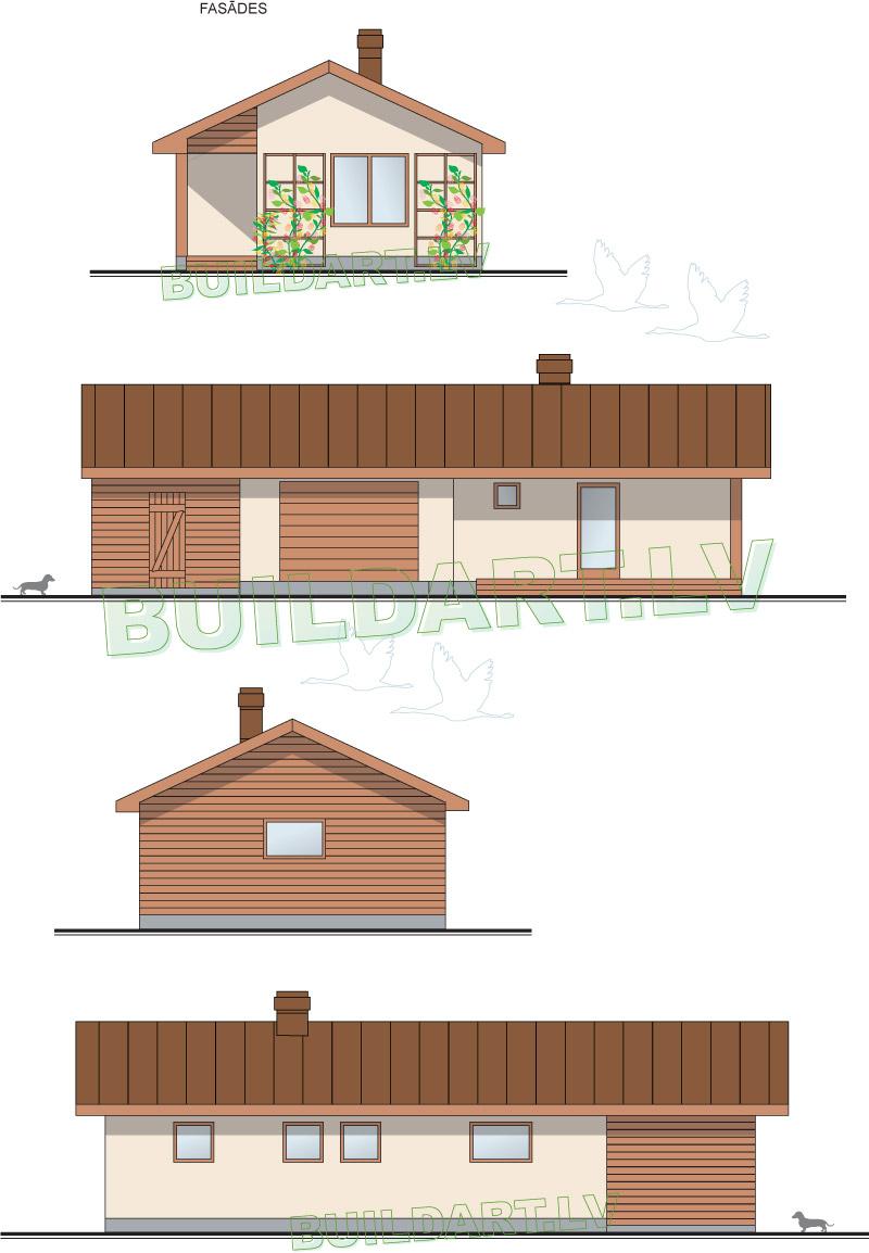 Pagaidu dzīvojamās mājas - saimniecības ēkas projekts - fasādes