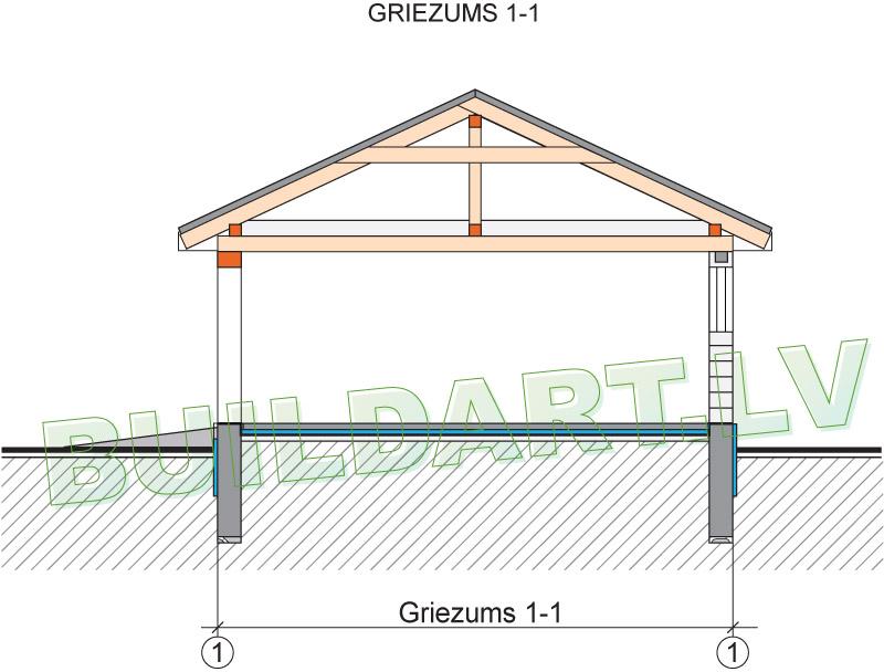 Pagaidu dzīvojamās mājas - saimniecības ēkas projekts - griezums