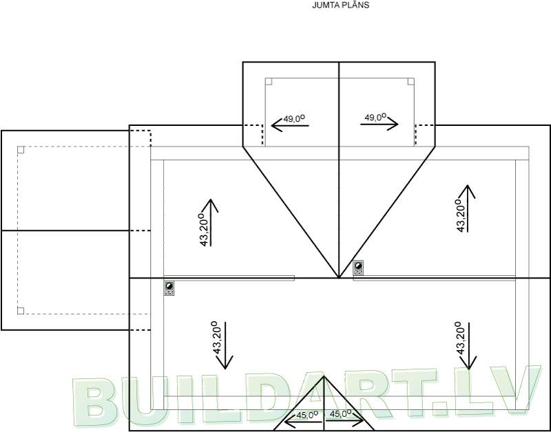 Kārtīgas lauku mājas projekts - jumta plāns