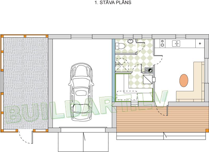 Pagaidu dzīvojamās mājas - saimniecības ēkas projekts - plāns