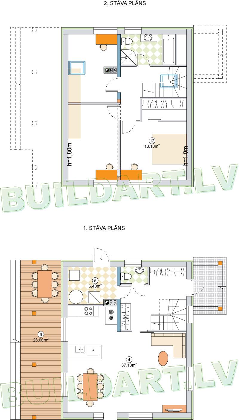 """Dzīvojamās mājas projekts """"Elīna"""" - plāns"""