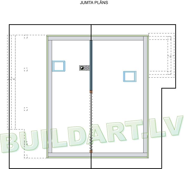 """Dzīvojamās mājas projekts """"Elīna"""" - jumta plāns"""
