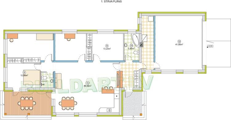 """Mājas projekts """"Ernestīne"""" - plāns"""