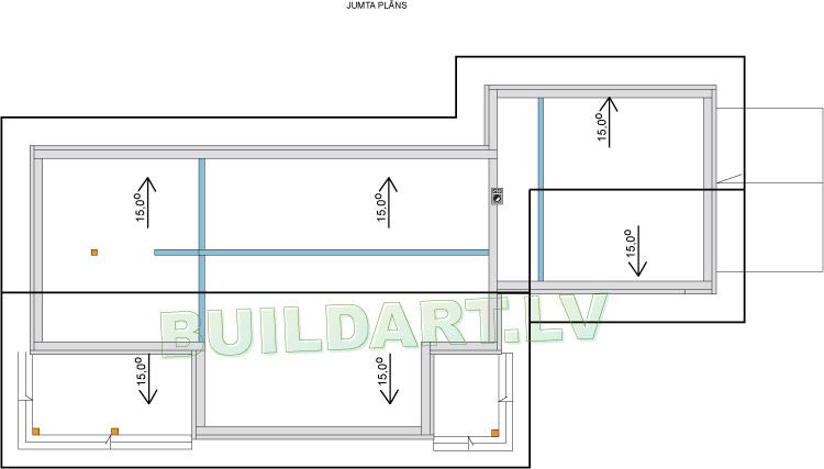 """Mājas projekts """"Ernestīne"""" - jumta plāns"""