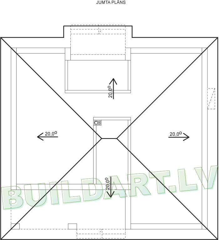 """Dzīvojamās mājas projekts """"Simona"""" - jumta plāns"""