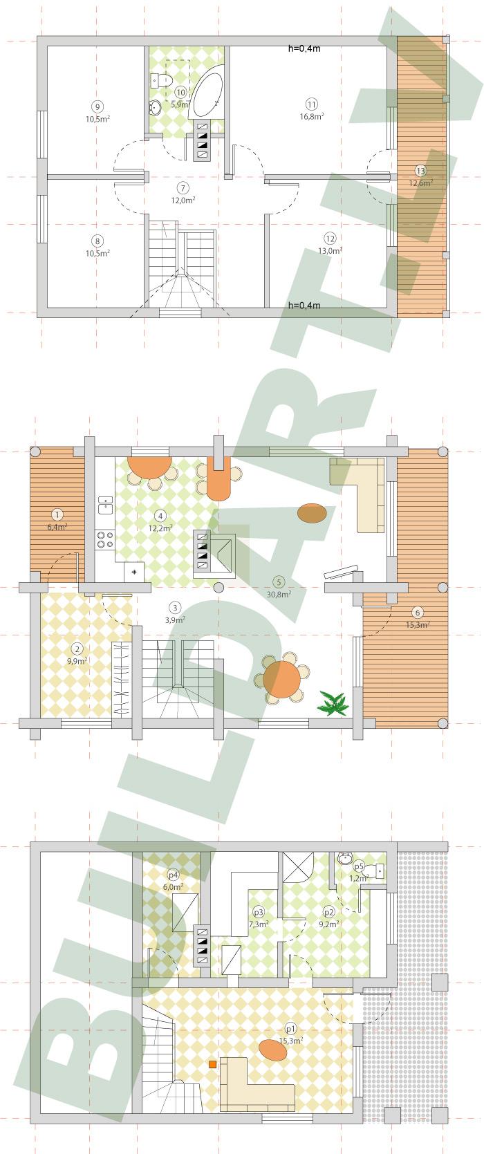 Guļbūves māja ar pirti, projekta stāvu plāni