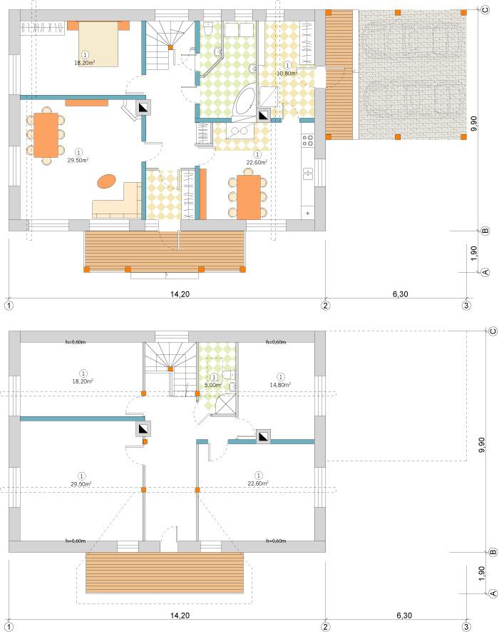 Ērtas lauku mājas projekts - stāvu plāni, versija