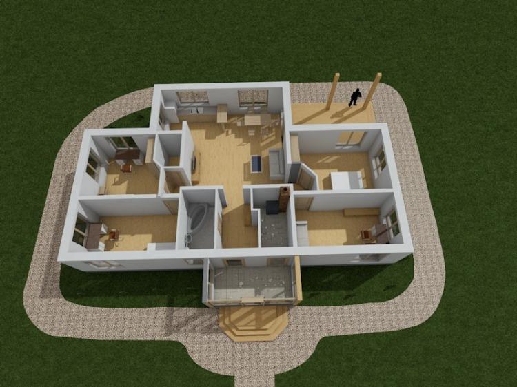 """Dzīvojamā māja vienā stāvā - projekts """"Andris"""" - projekta interjera vizualizācijas"""