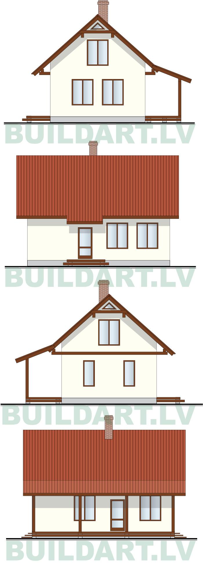 """Mājas projekts """"Ekonomiska ģimenes māja 2"""", fasādes"""