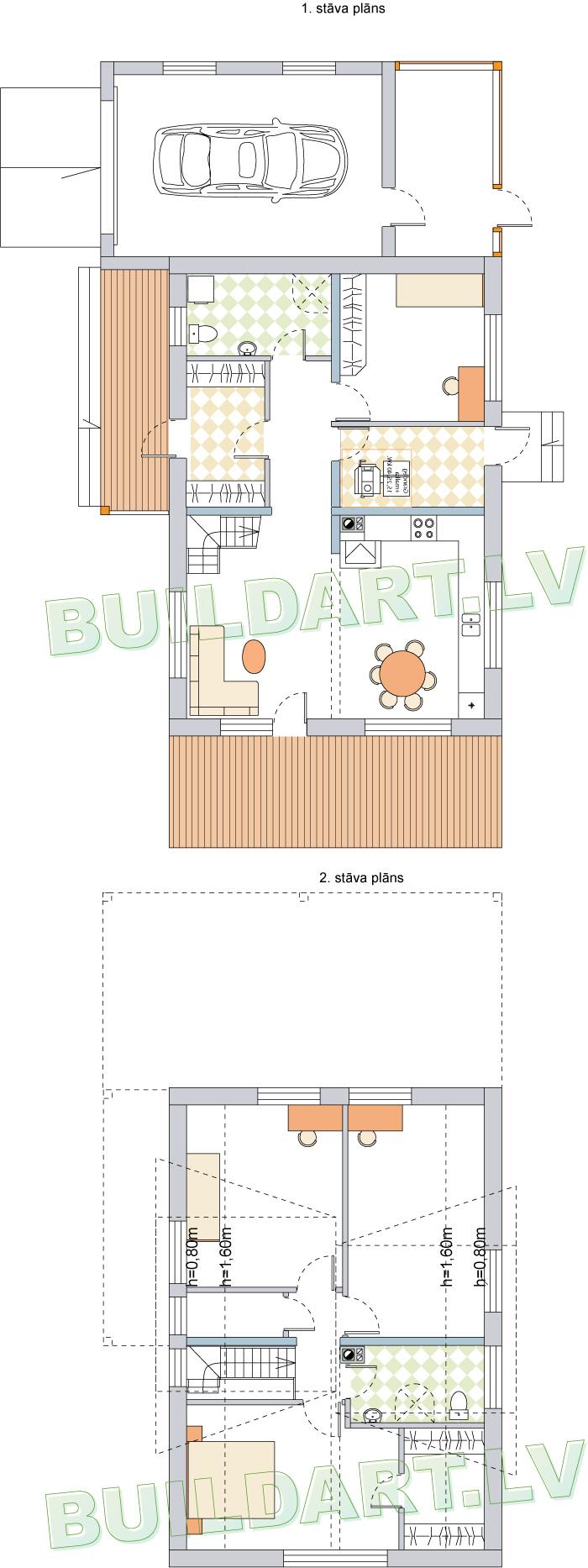 """Mājas projekts """"Aldis MAX"""" ar plašām augšstāva telpām, plānojums"""