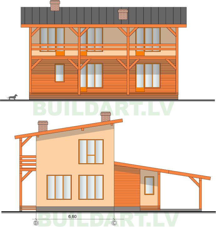 """Tipveida projekts """"Ojārs"""" divstāvu ekonomiska ēka 131kvm, fasādes"""