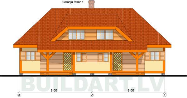 Brīvdienu dvīņu mājas projekts, versija ar jumta izbūvēm