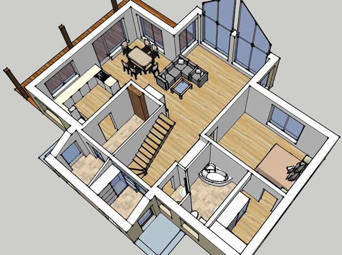"""Mājas projekts """"Krista"""" - trīsdimensiju interjera vizualizācijas"""