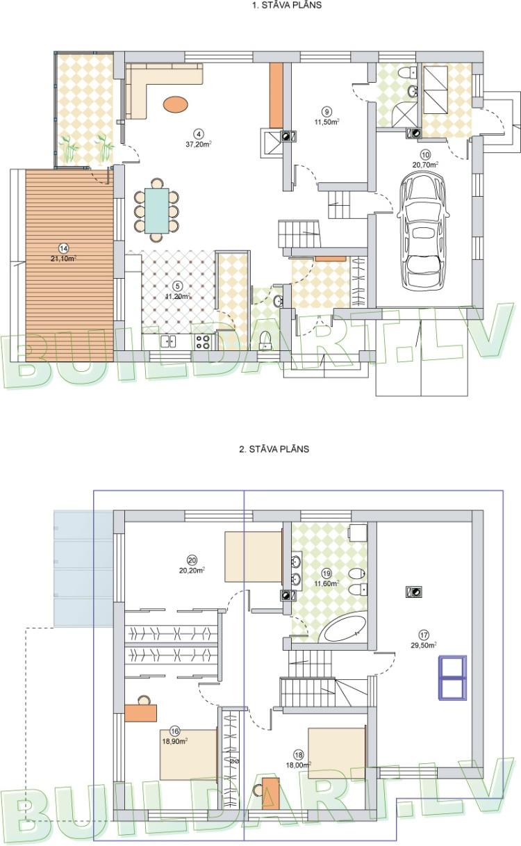 """Vidēji lielas mājas projekts """"Raitis"""", stāvu plāni"""