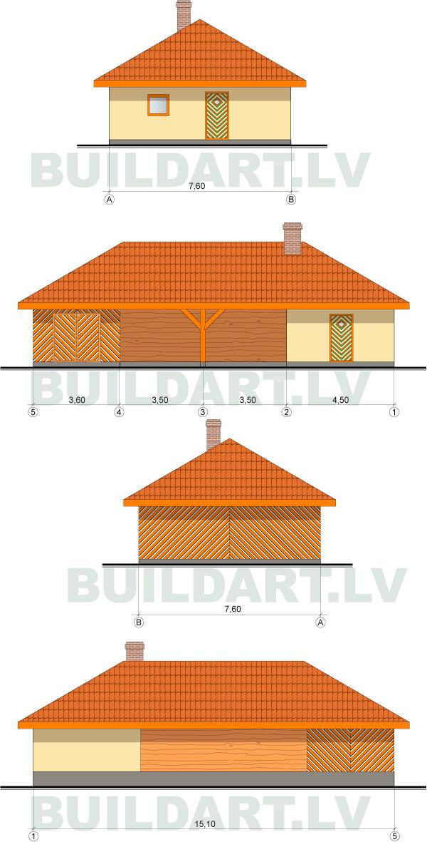 Saimniecības ēkas projekts, fasādes
