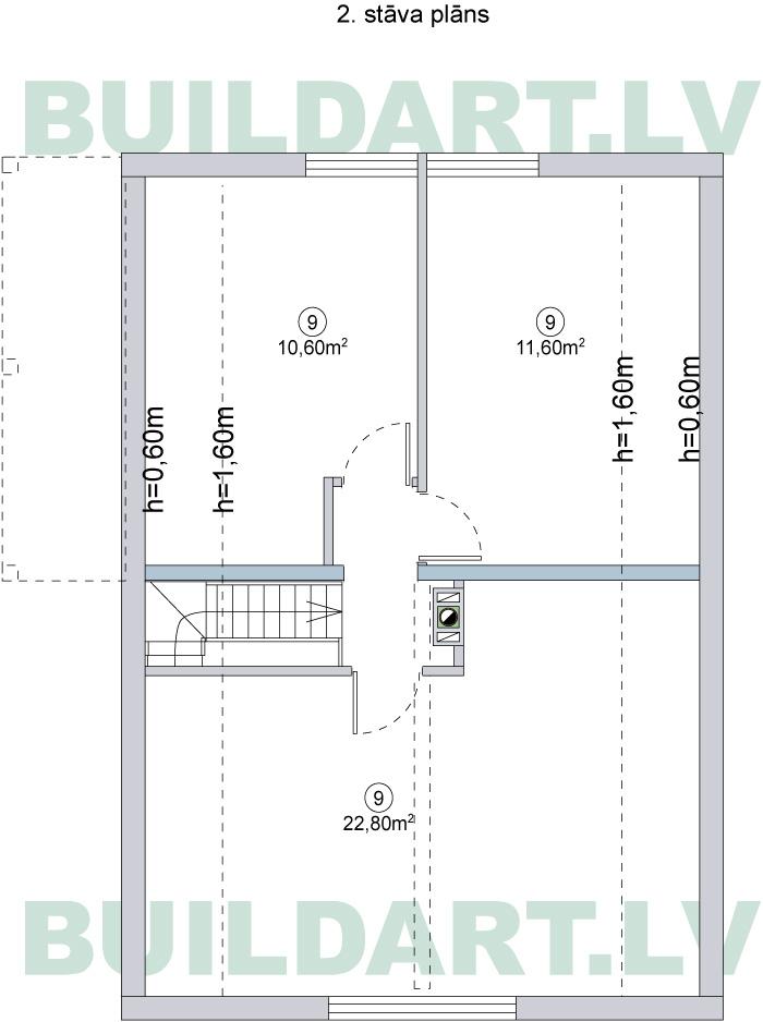 """Mājas projekts """"Aldis LUX"""", 2. stāva plāns"""