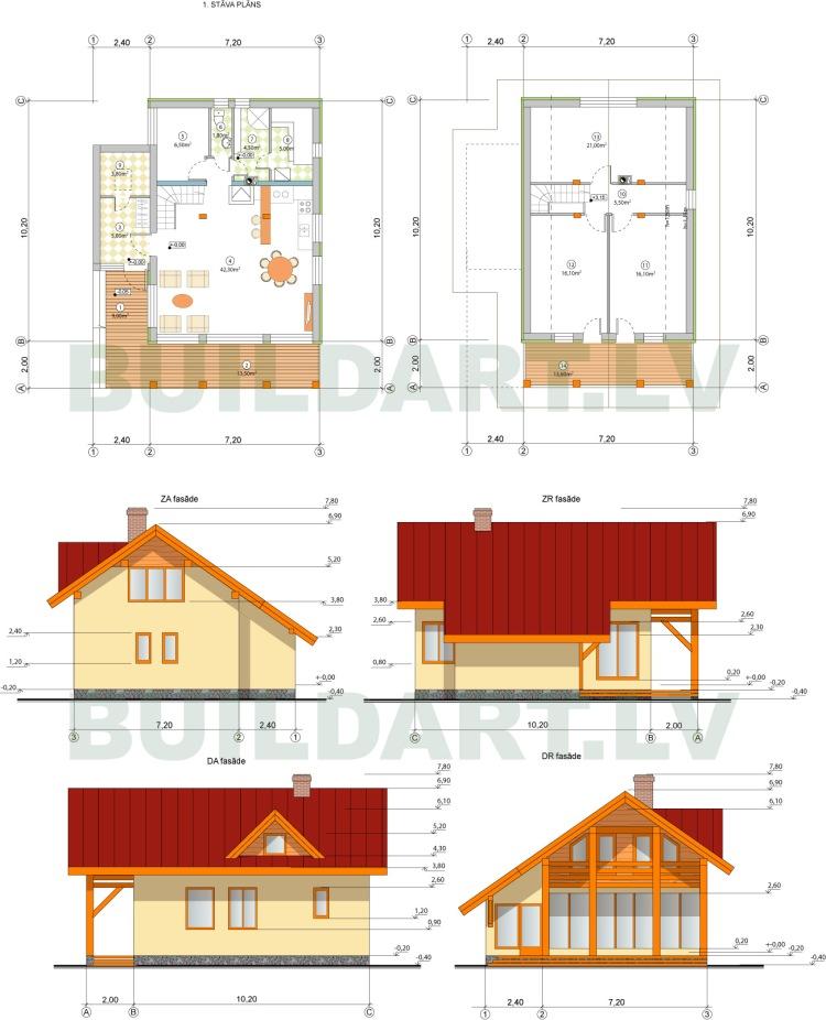 """Ēkas versija, projekts """"Rita"""", ekonomiska dzīvojamā ēka ar pirti"""