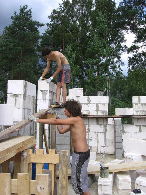 Gāzbetona sienu mūrēšana