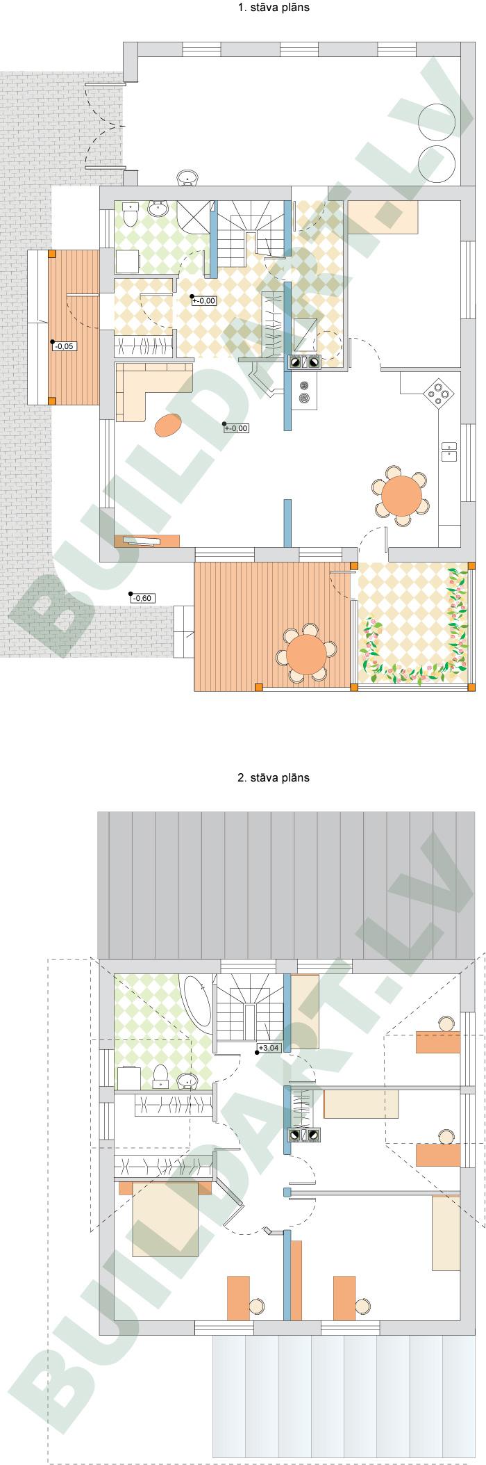 """Projekts """"Villa Agnese"""", dzīvojamās mājas projekts, pirmā un otrā stāva plāni"""