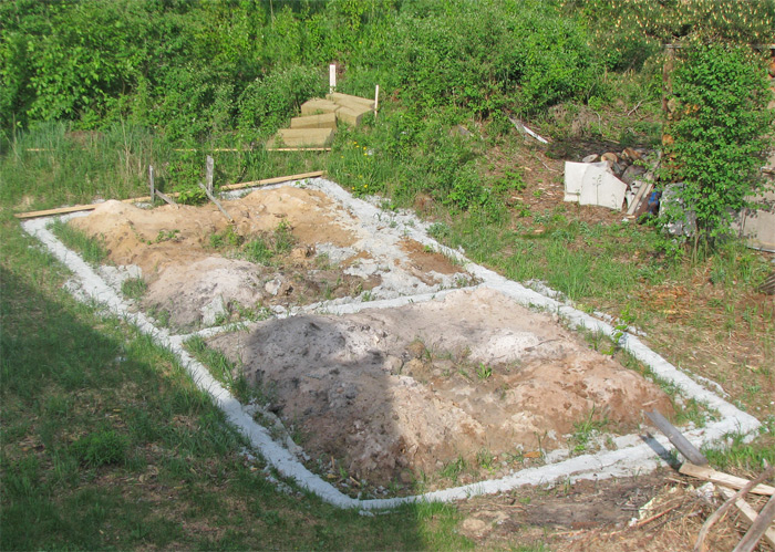 Saimniecības ēkas projekts - būvniecības process - pamati zemes veidnī