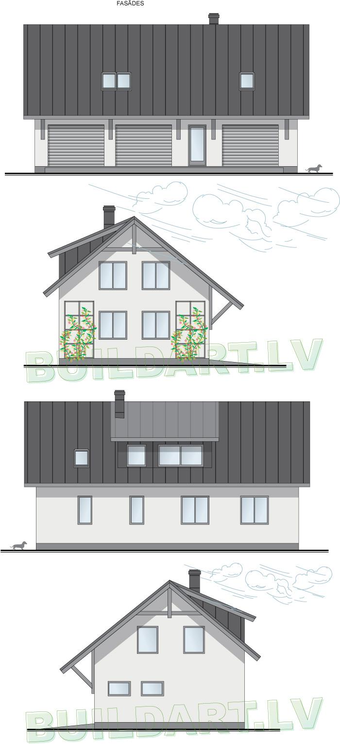 """Saimniecības ēkas, automehāniķa darbnīcas projekts """"Vaivars"""", fasādes"""