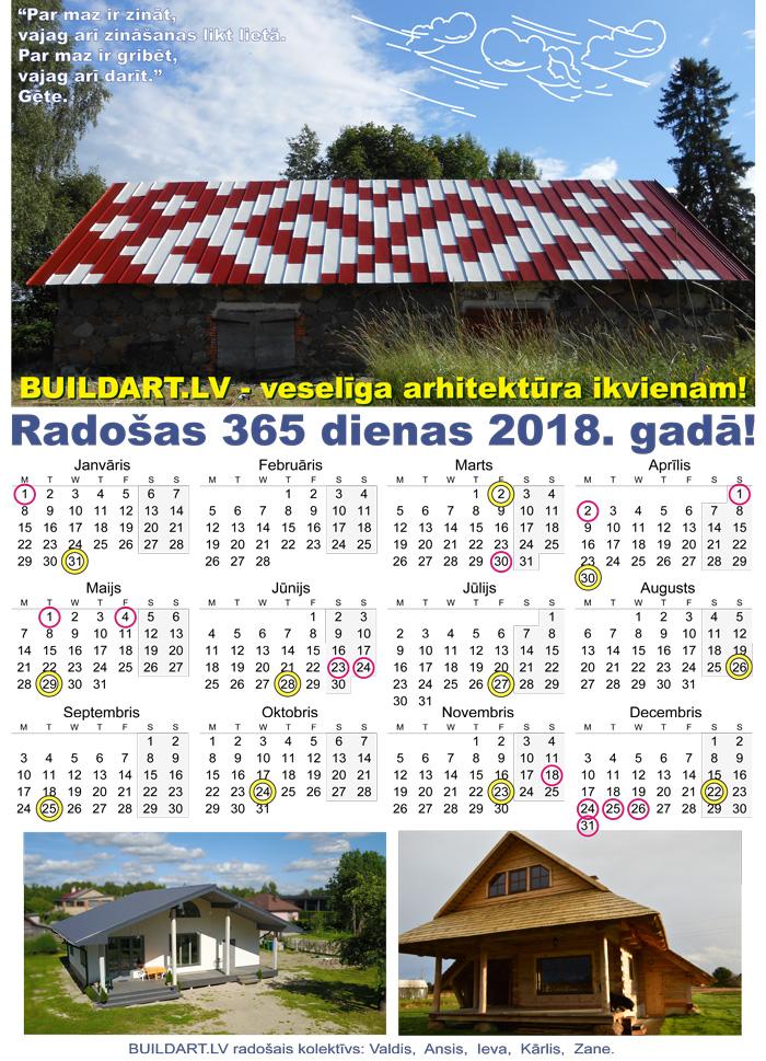 Buildart.lv kalendārs 2018. gadam