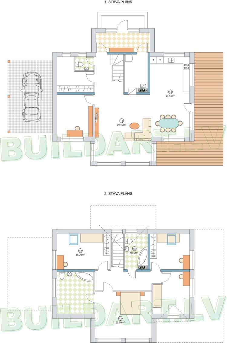 Dzīvojamās mājas projekts Aleksandrs - projekta stāvu plāni