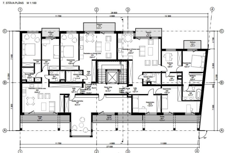 Dauddzīvokļu mājas projekts Rīgā - plāni