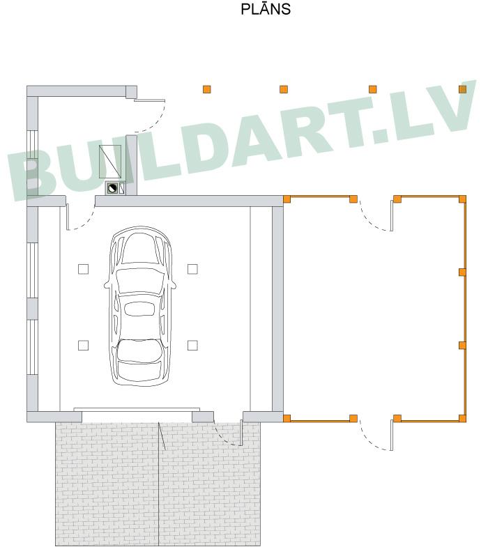 Saimniecības ēkas projekts, saimniecības ēka automehāniķim, plāni