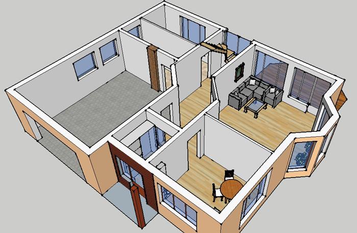 """Dzīvojamās mājas projekta """"Didzis"""" trīsdimensiju interjera vizualizācijas"""