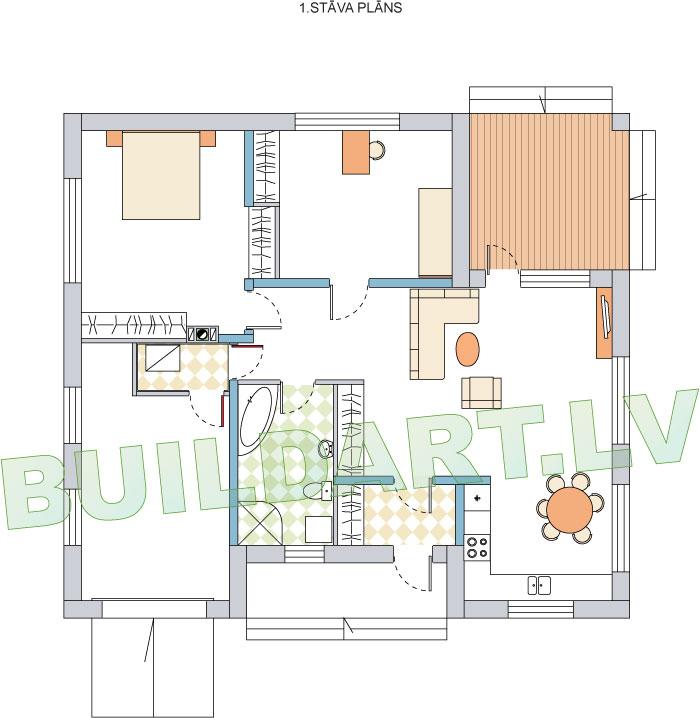 """Vienstāvīgas dzīvojamās mājas projekts """"Normunds"""", ēkas plāns"""