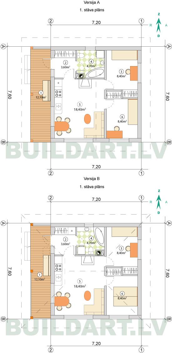 Mazas mājiņas projekts - namiņš vecākiem, plāni