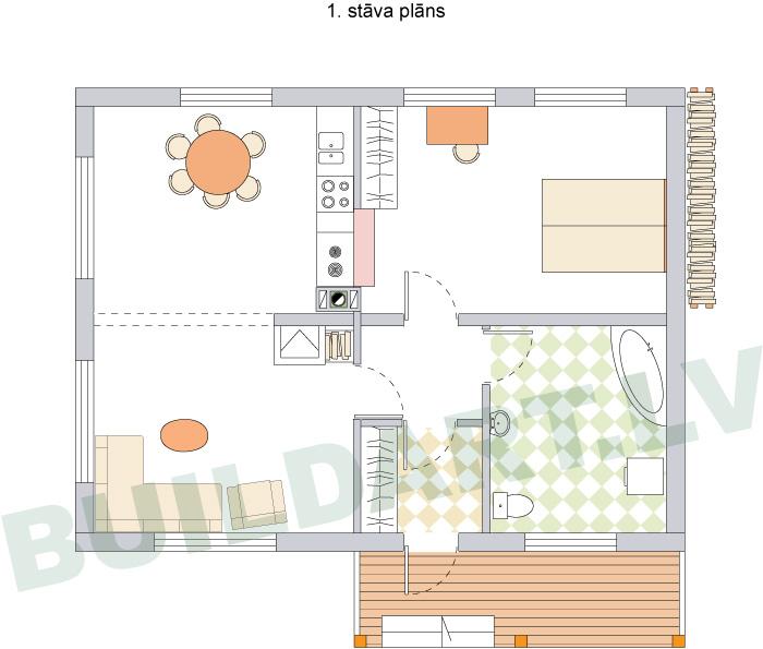 Mājas projekta versija ar vienu guļamistabu