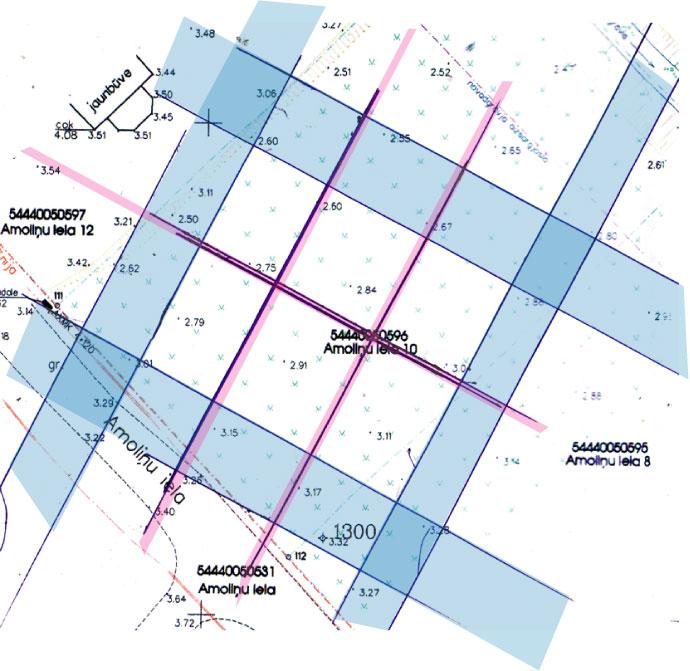 Āderu plāns, āderu uzmērīšana zemes gabalam Cenu pagastā
