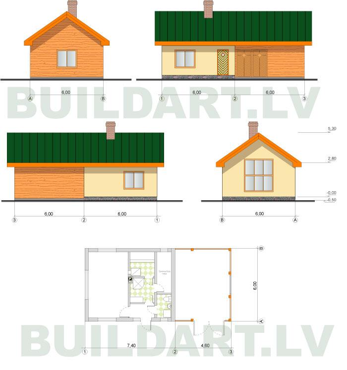 Saimniecības ēkas projekts, saimniecības ēka ar pirti