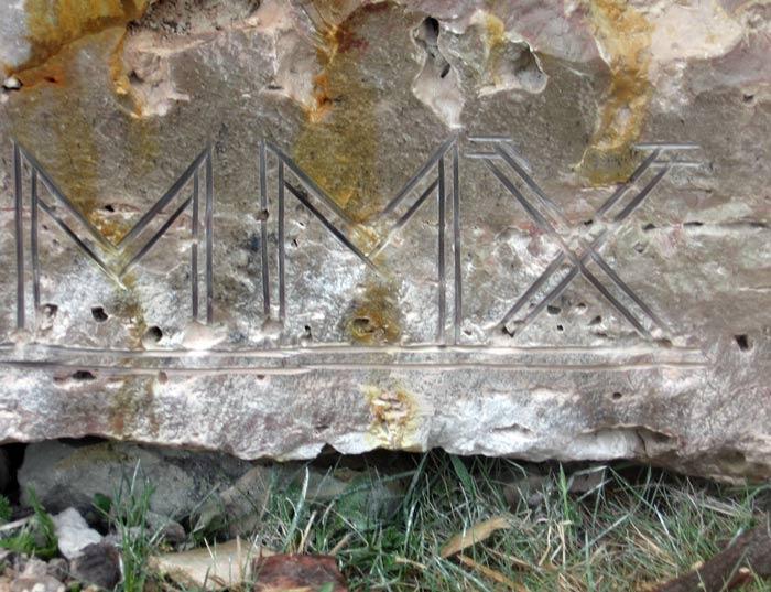 Gravējums dolomīta akmenī MMX