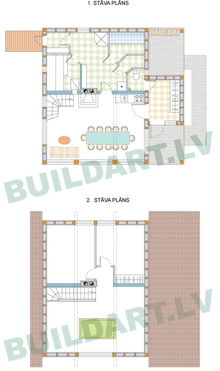 """Atpūtas mājas projekts """"Laila"""", ēkas stāvu plāni"""
