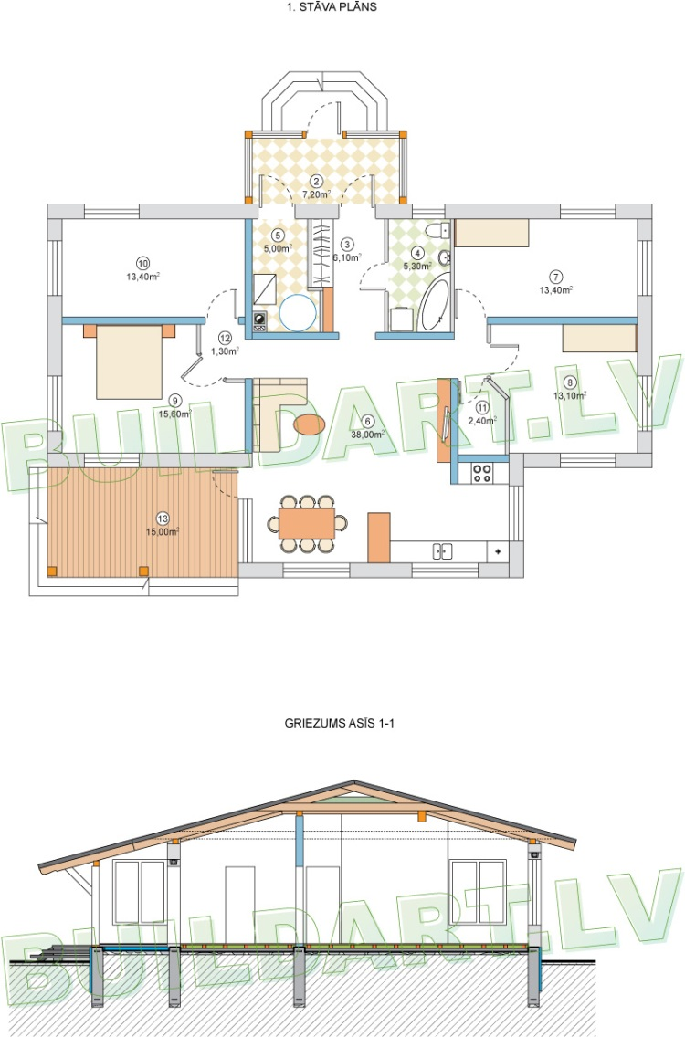 """projektsandris_02Dzīvojamā māja vienā stāvā - projekts """"Andris"""" - pirmā stāva plāns un griezums"""