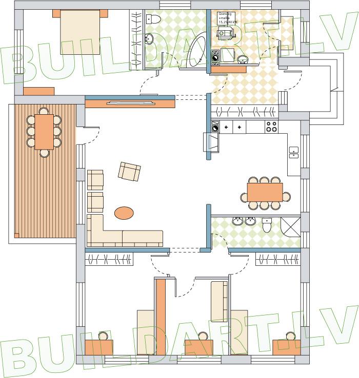 """Dzīvojamās mājas projekts """"Salvis"""", dzīvojamā māja vienā stāvā - mājas fasādes"""